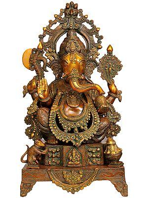 Large Size Enthroned Ganesha
