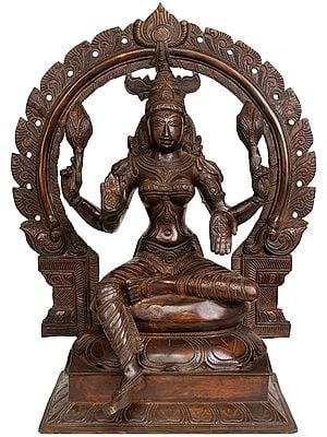Large Size Goddess Lakshmi Seated on Lotus Throne with Floral Aureole