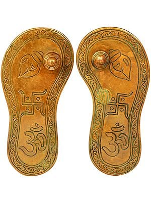 Charan Paduka with Auspicious Figure