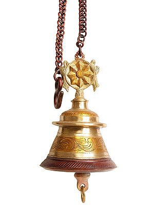 Vaishnava Temple Hanging Bell with Lord Vishnu's Conch and Chakra