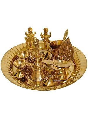 Puja Thali for Worship of Vishnu and Lakshmi Ji