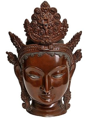 Goddess Tara Head With Five Crested Crowns