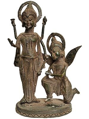 Garuda  Paying Obeisance to Lord Vishnu (Tribal Statue from Bastar)