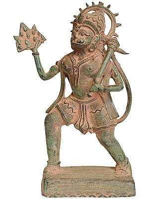 Lord Hanuman Carrying Mountain of Sanjeevani Herbs (Tribal Statue from Bastar)