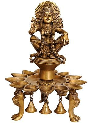 Lord Ayyappan Lamp with Bells and Lion Head Legs