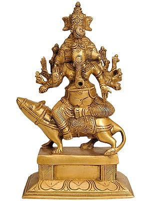 Five Headed Lord Ganesha Seated on His Mount