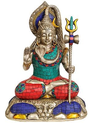 Mahayogi Lord Shiva  Seated on Lion Skin