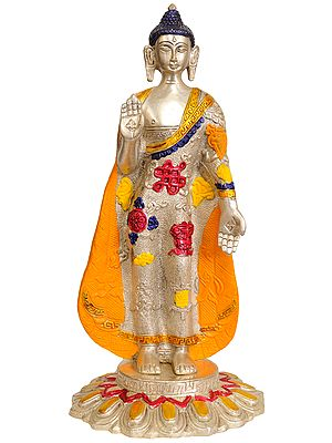Lord Buddha Standing on Lotus Granting Abhay (Robes Deorated with Auspicious Symbols)
