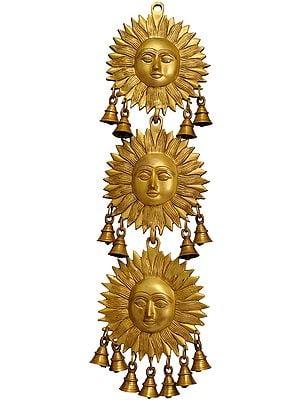 Triple Surya (Sun)  Wall Hanging with Bells