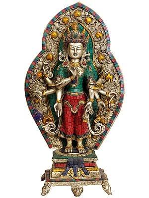 Large Size Eight Armed Avalokiteshvara with Ornamented Aureole (Tibetan Buddhist Deity)