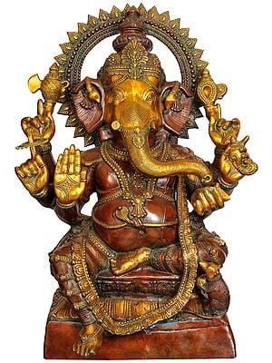 Large Size Lalitasana Ganesha in Ashirvad Mudra