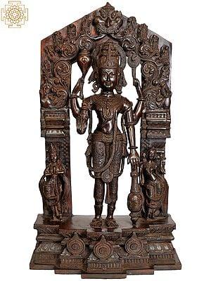 Large Size Lord Vishnu with Shridevi and Bhudevi (Aureole Depicting His Ten Incarnations)