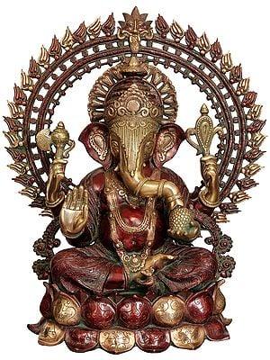 Large Size Lord Ganesha Seated on Lotus with Prabhavali and Kirtimukha