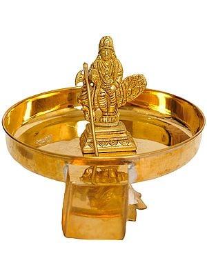 Lord Karttikeya Abhisheka Plate with Lotus Base Stand