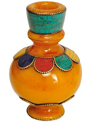 Tibetan Buddhist Small Ritual Vase  (Amber Dust with Inlay)