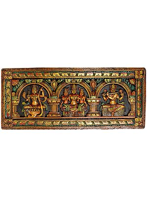 Vishnu with Bhudevi and Shridevi with Rama and Krishna (Panel)