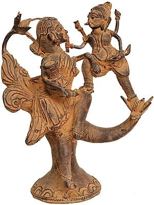 Goddess Parvati Playing with Baby Ganesha on a Tree (Tribal Statue From Bastar)