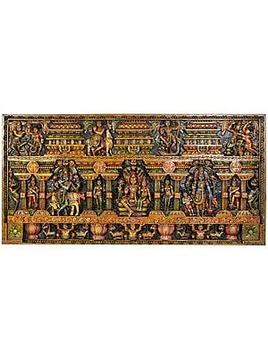 Shri Krishna Lila Panel with Vishnu-Lakshmi Seated on  Sheshasanaga, Standing Vishnu with the Figures of Dwarf, Yali and Doorkeepers
