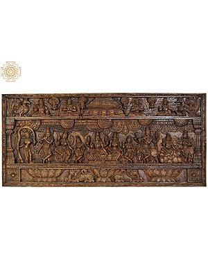 Vishnu-Lakshmi Panel with the Figures of Shalabhanjika, Lord Krishna, Kubera and Attendant Deities