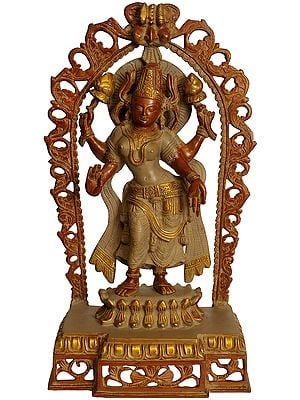 Goddess Lakshmi with Prabhavali and Kirtimukha Atop
