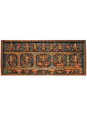 Dancing Lord Ganesha Panel with Five Manifestations of Ganesha