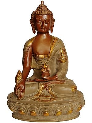 The Medicine Buddha Seated on Lotus Pedestal (Tibetan Buddhist Deity)