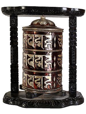 Large Tibetan Buddhist Prayer Wheel