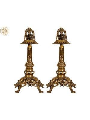 Lord Ganesha Butter Lamp Pair