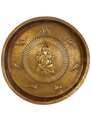 Superfine Large Size Ganesha Wall Hanging Plate with Ashtamangala Symbols