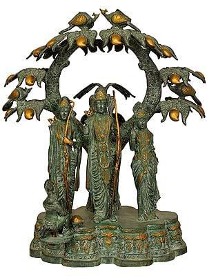 Shri Rama, Sita, Lakshman and Hanuman under the Mango Tree