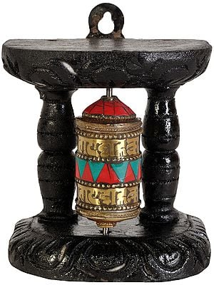 Tibetan Buddhist Enshrined Prayer Wheel