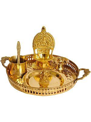Lord Ganesha Puja Thali with Lakshmi Ji Diya