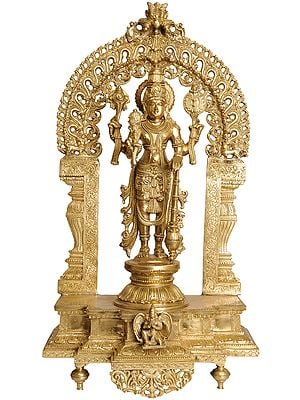 Large Size Lord Vishnu with Floral Prabhavali