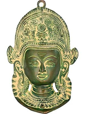 Lord Indra Wall Hanging Mask with Horizontal Third  Eye