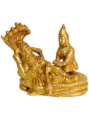 Lord Vishnu and Lakshmi Ji Seated on Sheshnag (Small Statue)