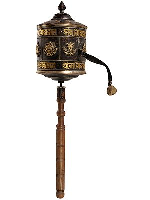 Tibetan Buddhist Super Large Prayer Wheel with Auspicious Symbols and Syllable Mantra