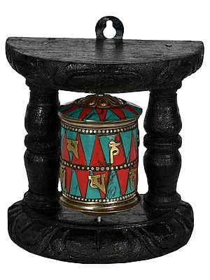 Tibetan Buddhist Enshrined Prayer Wheel from Nepal