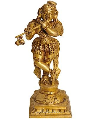 Lord Krishna with Choti Playing on Flute