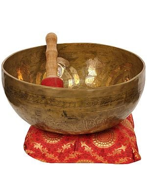 Tibetan Buddhist Singing Bowl Inside The Images of Five Dhyani Buddhas