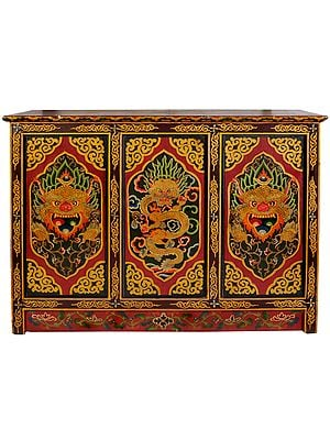 Tibetan Buddhist Large Size Wooden Cupboard with the Figures of Dragon and Yamantaka