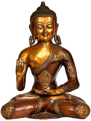 Tibetan Buddhist Deity Lord Buddha with Ashtamangala on His Robe