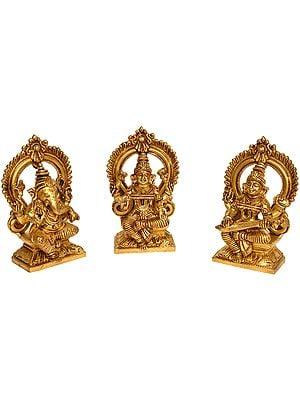 Ganesha,Lakshmi and Saraswati (Set of Three statues)
