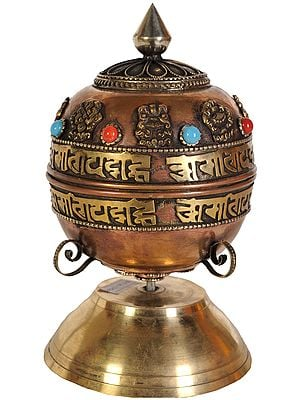 Tibetan Buddhist Prayer Wheel on Stand