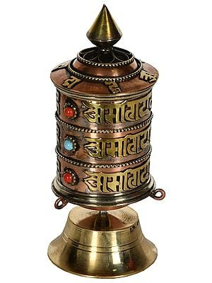 Made in Nepal Prayer Wheel on Stand (Tibetan Buddhist)