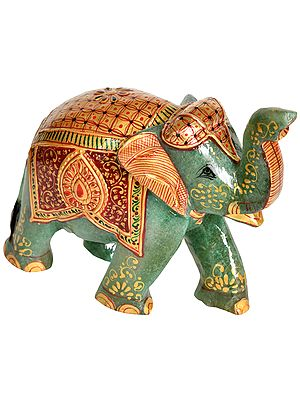 Decorated Elephant with Upraised Trunk - Carved in Jade Gemstone