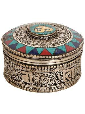 Tibetan Buddhist Om Ritual Box with Filigree Work