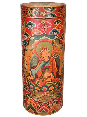 Made in Nepal Large Size Thangka Box with Image of Padmasambhava (Tibetan Buddhist)