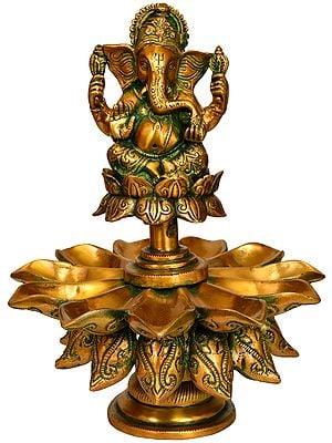 Lord Ganesha Lotus Lamp (Eleven Wicks)