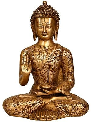 Lord Buddha in Vitark Mudra with Auspicious Symbols and Mantras on His Robe
