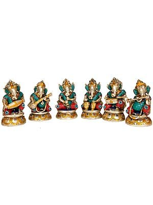 Musician Ganesha with Choti (Set of Six)